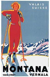 Ski Valais, Montana-Vermala, Switzerland Vintage Skiing Poster Reprint - A. Vintage Ski Posters, Retro Poster, New Poster, Madame Gres, Man Ray, Madeleine Vionnet, Party Vintage, Logo Vintage, Retro Vintage