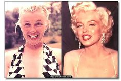 Marilyn Monroe before and after makeup - long before photoshop and light-diffusing foundation and skin primers etc etc . make-up is an art! Maquillage Marilyn Monroe, Marilyn Monroe Makeup, Marylin Monroe, Skin Makeup, Beauty Makeup, Hair Beauty, Makeup Tricks, Beauty Secrets, Beauty Hacks