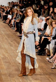 A model walks the runway at the Ralph Lauren Spring 2011 fashion show during Mercedes-Benz Fashion Week at Skylight Studio on September 16, 2010 in New York City.