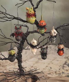 Scary Little Ghoul ornaments will bring hobgoblin fun to your Halloween Tree. Our collection of Halloween ornaments includes: Goblin, Witches, Pumpkin Head, Bat, Ghost, Skeleton and black cat. All bug