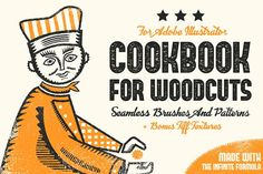 Cookbook for Woodcuts consists of 55 no-stretch brushes for Adobe Illustrator, 15 seamless woodcut patterns, and bonus free tiff textures. I started working on these brushes three weeks ago You Draw, How To Draw Hands, Texture Web, Paint Texture, Vector Brush, Design Typography, Illustrations, Retro Illustration, Photoshop Actions