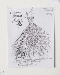 """See the """"Putting It on Paper"""" in our A Diary of the Making of a Wedding Dress: Behind-the-Seams with Carolina Herrera. Carolina Herrera Sketch"""