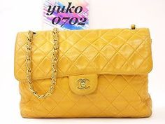 "r2127 Auth CHANEL Yellow Lamb Skin 11.81"" Single Flap Chain Shoulder Bag GHW"