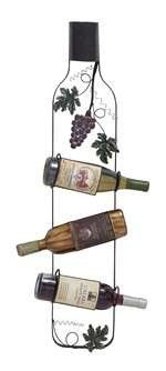 Designed in the shape of a wine bottle, the hanging wine rack is a decorative addition to your wine bar area.