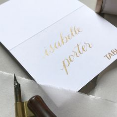 Calligraphy place card- gold and white - rehearsal dinner, wedding, bridal shower, fall wedding