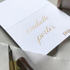 Calligraphy place card- gold and white - rehearsal dinner, wedding, bridal shower, fall wedding #placecard #escortcard #weddingnamecard #customcalligraphy #goldplacecard #fallwedding