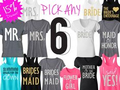 BRIDE & BRIDESMAID Shirts  contact www.Tshirtsetckaty.com