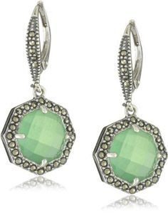"Judith Jack ""MALDIVES"" Sterling Silver, Marcasite and Chrysoprase Stone Small Drop Earrings"