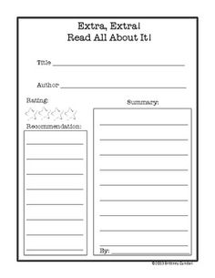 Book Review Templates With Corresponding Graphic Organizers Free
