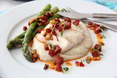 Torsk med chorizosalsa og blomkålpuré Recipes From Heaven, Chorizo, Lchf, Baked Potato, Great Recipes, Mashed Potatoes, Nom Nom, Food And Drink, Fish