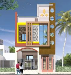 House Main Gates Design, Single Floor House Design, Duplex House Design, House Front Design, House Elevation, Modern, Projects, Trendy Tree, Tile Projects