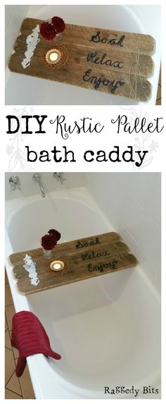 Old Pallets Using an old pallet you can make your very own DIY Rustic Pallet Bath Caddy… - See how to make your very own DIY Rustic Pallet Bath Caddy from a reclaimed pallet. Complete supply list and clear step by step instructions. Pallet Crafts, Diy Pallet Projects, Wood Projects, Diy Crafts, Pallet Ideas, Rustic Crafts, Decor Crafts, Craft Projects, Old Pallets