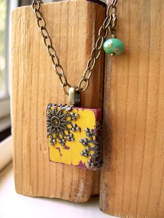 Mustard Yellow Shabby Chic Scrabble Tile Pendant Necklace - The Grand Hall Wire Jewelry, Jewelry Crafts, Jewelry Art, Beaded Jewelry, Jewelery, Handmade Jewelry, Jewelry Design, Scrabble Tile Jewelry, Scrabble Tile Art