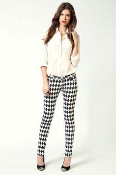 diamond pattern skinny jeans  50.00  boohoo.com