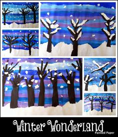 PAINTED PAPER: 5th grade Winter landscapes with textured trees...