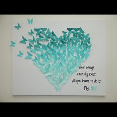 Hand-made Butterfly - Heart Art with Quote! 16 X 20 Hand-made Paper Butterfly Heart Ar Diy And Crafts, Arts And Crafts, Paper Crafts, 1st Birthday Gifts, Butterfly Art, Butterfly Mobile, Butterfly Quotes, Heart Art, How To Make Paper