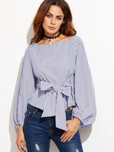 Bow Belted Front Exaggerated Lantern Sleeve Striped Top