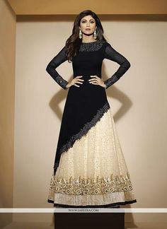 Buy Shilpa Shetty Black A Line Lehenga Choli. This Shilpa Shetty embroidered and lace work a line lehenga choli. Bollywood Style Dress, Bollywood Lehenga, Bollywood Fashion, Indian Gowns Dresses, Pakistani Dresses, Indian Outfits, Party Wear Indian Dresses, Maxi Dresses, Lehenga Design For Engagement