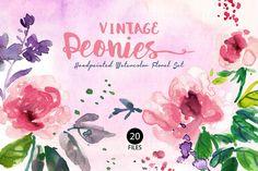 Vintage Peonies- Watercolor Clip Art by SmallHouseBigPony on Creative Market