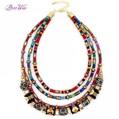 Latest #Women Multi Layers Statement #Necklace Boho Style Choker #Chains Ball Handmade Collar Maxi Necklaces & #Pendants Big Jewelry