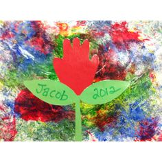 Smash art with hand print flower