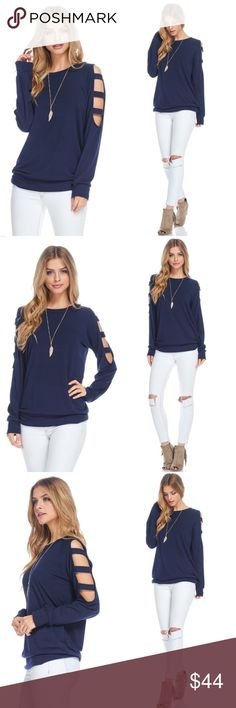 Cold Shoulder Ladder Cutout Top 82% Polyester, 15% Spandex, 3% Rayon. Tops Tees - Long Sleeve