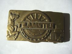 1983 SOLID BRASS GOLD PLATED HARLEY DAVIDSON SMALL DRESS BUCKLES TWO