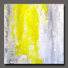 "Abstract acrylic painting on flat canvas, contemporary design in gray, yellow and white.  12"" x 12"", perfect to frame.  Titled ""Sweet Spring""."