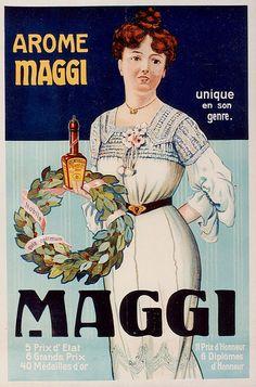 'Lady in white' Maggi liquid seasoning advertisement by Nestlé, via… Vintage Labels, Vintage Ads, Vintage Images, Vintage Posters, Retro Advertising, Retro Ads, Vintage Advertisements, Grand Prix, Italia