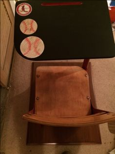 St Louis Cardinals Themed School Desk.  Chalkboard Paint on the writing area. Painted with Rustoleum Colonial Red.I painted the baseballs on and then used a brown glaze to give the balls the game used look.  And of course a Baseball Cardinal Theme. Just in time for opening day. Seat Height is 14 inches,Desk height adjust from 23 inches to 28 inches $75