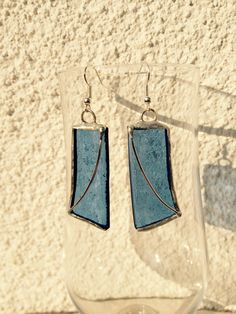 Blue stained glass earings M