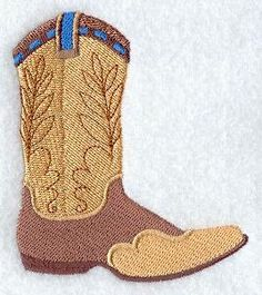 A rustic pair of cowboy boots, complete with leather tooling and spurs. Machine Embroidery Quilts, Machine Embroidery Designs, Hand Embroidery, Embroidery Ideas, Quilting, Hand Applique, Designer Boots, Applique Designs, Leather Tooling