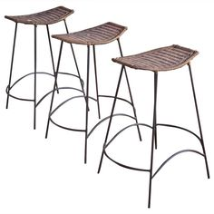 Set of Wicker & Iron Bar Stools in the Style of Arthur Umanoff | From a unique collection of antique and modern stools at https://www.1stdibs.com/furniture/seating/stools/