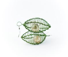 Cage Earrings in Dark Leaf Green and Salmon Pink by lottalosten, $54.00