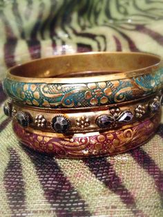 Vintage Indian Enamel  And Rhinestone Bangle by ChicCollective, £11.00