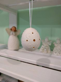 Easter Egg FREE Shipping White Madeira Lace Egg by EggArtBoutique