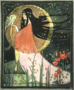 Kuu is a Moon goddess in Finnish mythology. According to the Kalevala, the… Art And Illustration, Illustrations, Goddess Art, Moon Goddess, Air Goddess, Luna Goddess, Fantasy Kunst, Fantasy Art, Art Nouveau
