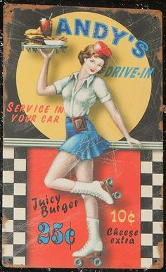 Andy's Drive-in Roller Girl Advertising Tin Art by kocojim, via Flickr