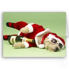 Drunk Dog Christmas Card