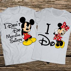Funny disney couple shirts, I dont do matching shirts, I dont do matching shirts, Mickey and Minnie couple shirts, Minnie and Mickey shirts, Disney couple shirt, Disney shirts for couples. 100% cotton with very high quality and comfort - extremely soft and healthy. Suitable gift for