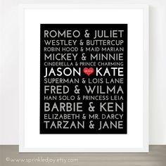 The Original Famous Couples Subway Print - ALL Names Changeable and Colors - 8x10, 11x14, 16x20, wedding gift, anniversary, love story, gift