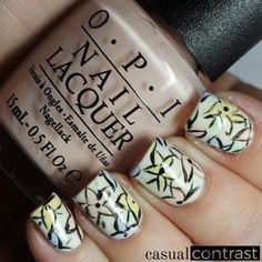 Abstract Floral Nail Art featuring OPI Soft Shades | Casual Contrast