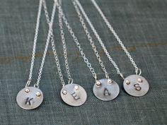 Silver Initial Necklace- Great for Bridesmaids - Metamorphosis Metals