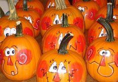 Happy Faces on Pumpkins  http://makinbacon.hubpages.com/hub/halloweenpumpkindecorationsartdesignstutorials