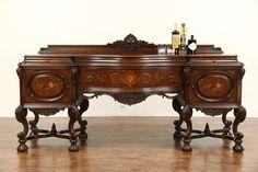 ~ Renaissance 1925 Antique Sideboard, Buffet, or Server, - Burl & Marquetry ~ ebay.com