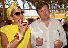 Queen Maxima of the Netherlands talks to Edison Rijna Governor of Bonaire during her visit for Dia di Rincon on April 30, 2015 in Rincon, ...