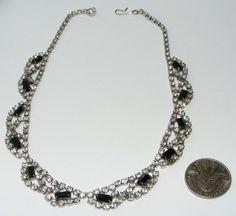 Vintage black & clear Rhinestone NECKLACE costume jewelry