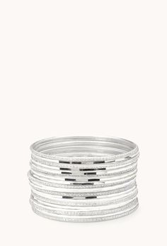 Glittered bangle set from Forever 21 #prom #jewelry #bracelets #silver