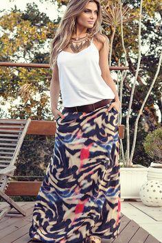 Look verão - saia longa em viscose com estampa digital + blusinha em cetim com alças reguláveis ... hummm que look fresquinho ideal para estações quentes