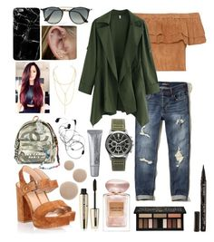 """""""QUWE"""" by polina18necko ❤ liked on Polyvore featuring Chanel, Gianvito Rossi, Hollister Co., Ray-Ban, Jules Smith, Jack Mason, Giorgio Armani, Smith & Cult, L'Oréal Paris and Kat Von D"""
